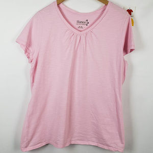 Hanes Womens T-Shirt Short Sleeve Ruched Cotton